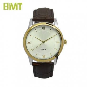 VT-S1940 Personalized Classic Vintage 2-tone plating Alloy Case Genuine Leather Watch