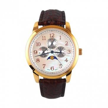 VT-LS1937 Men's Luxury Decorative Moon Phase Genuine Leather Strap Chronograph Watch