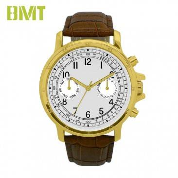 VT-S1916 Customized Vintage PVD Coated Zinc Alloy Genuine Leather Strap Men Watch