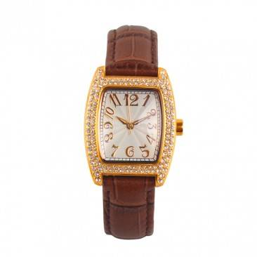 VT-S1938 Personalized Classic Barrel Shaped Case Genuine Leather Analog Diamond Watch