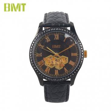 Mens Luxury Crocodile Leather Strap Skeleton Mechanical Automatic Watch VT-S19612
