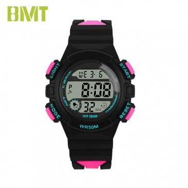 VT-D1935 Direct Factory Supply Women 50M Waterproof Contrast Color Band Plastic LCD Sport Watch