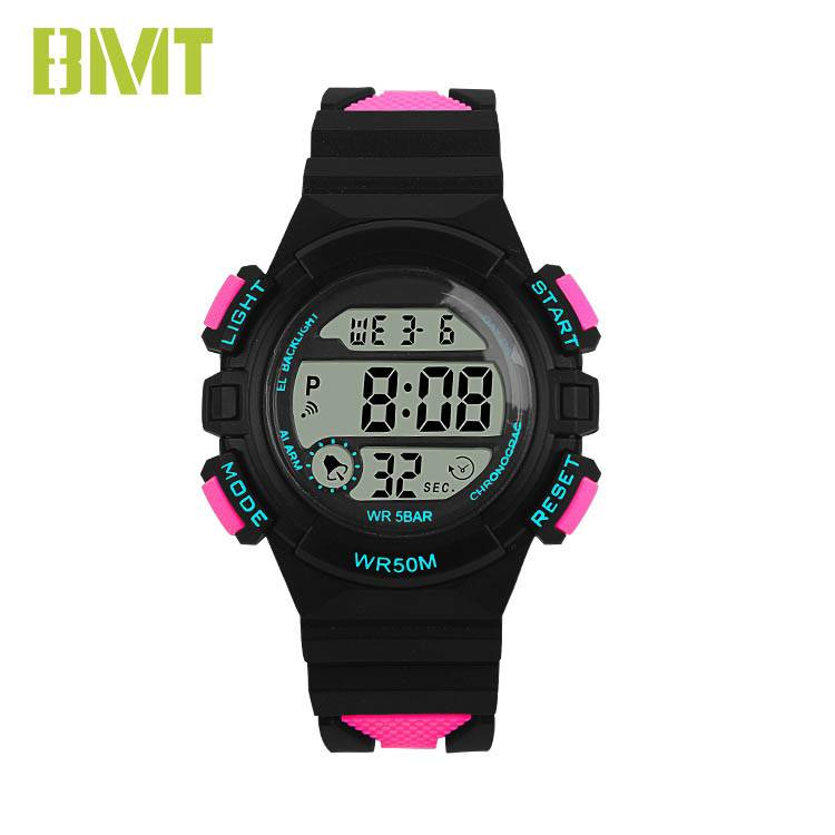 VT-D1935 Direct Factory Supply Women 50M Waterproof Contrast Color Band Plastic LCD Sport Watch Featured Image