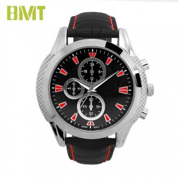 VT-S1912 Watch Manufacturer Custom Black Leather Strap Quartz Watch Men
