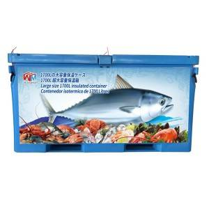 Extra large 1700L insulated fish tubs, for transportation and production