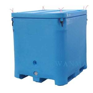 FDA Materials LLDPE, 1000L heavy duty Insulated fish bin with Lid