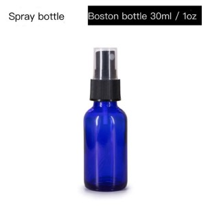 Sterile spray bottle alcohol spray stock supply 30ml 60ml 120ml Boston blue glass bottle