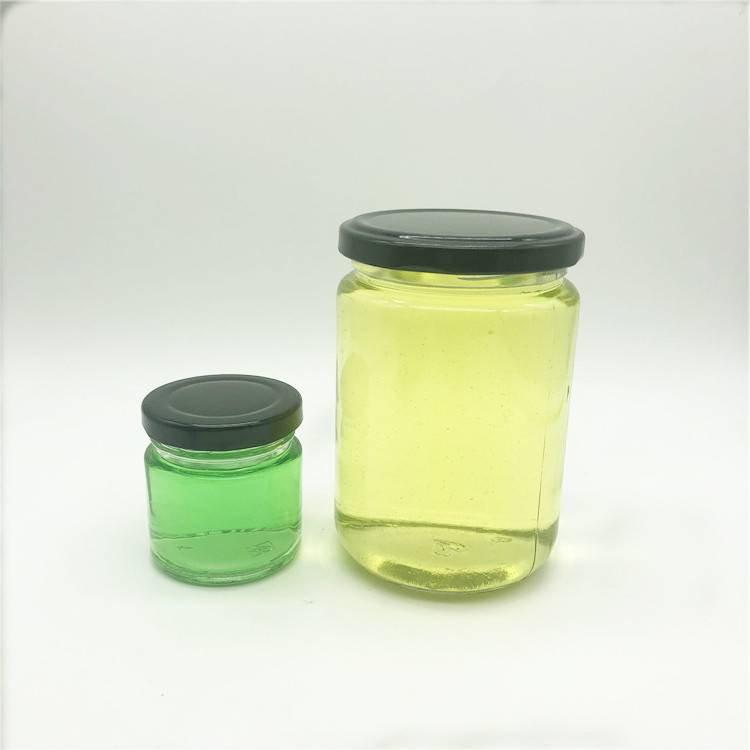 Hot sale glass round food container for honey sauce jam jar  with metal cap