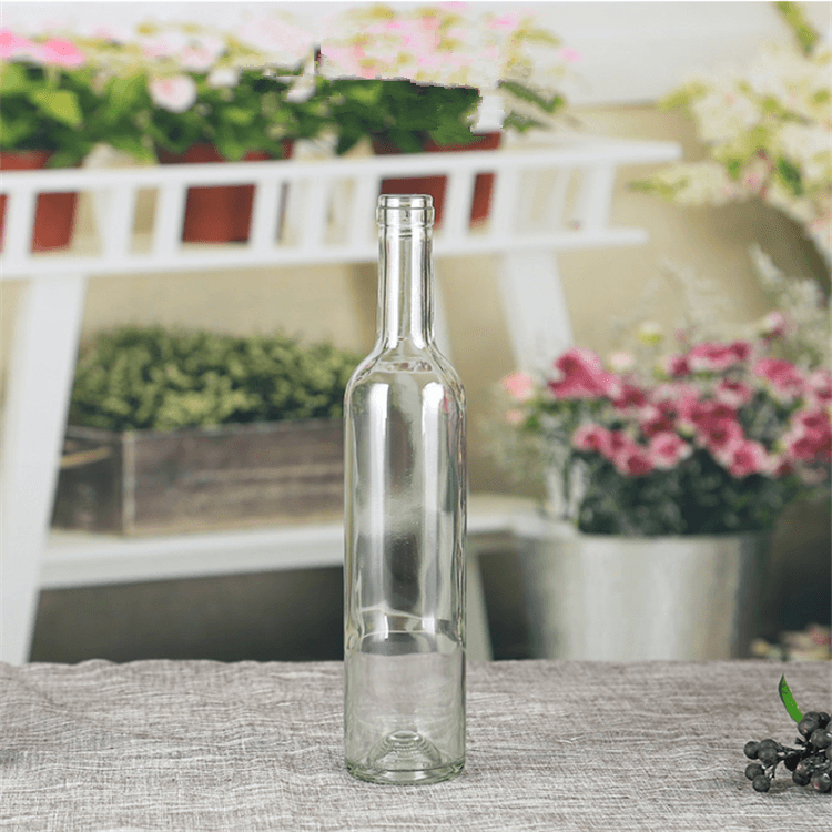 750ml Clear Glass Bordeaux Wine Bottle Flat-Bottomed Cork Finish with Premium Natural Corks & PVC Shrink Capsules