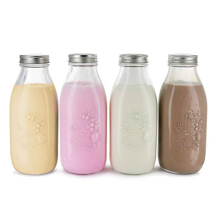 33.8oz Clear Reusable Glass Milk Bottles with Metal Lids