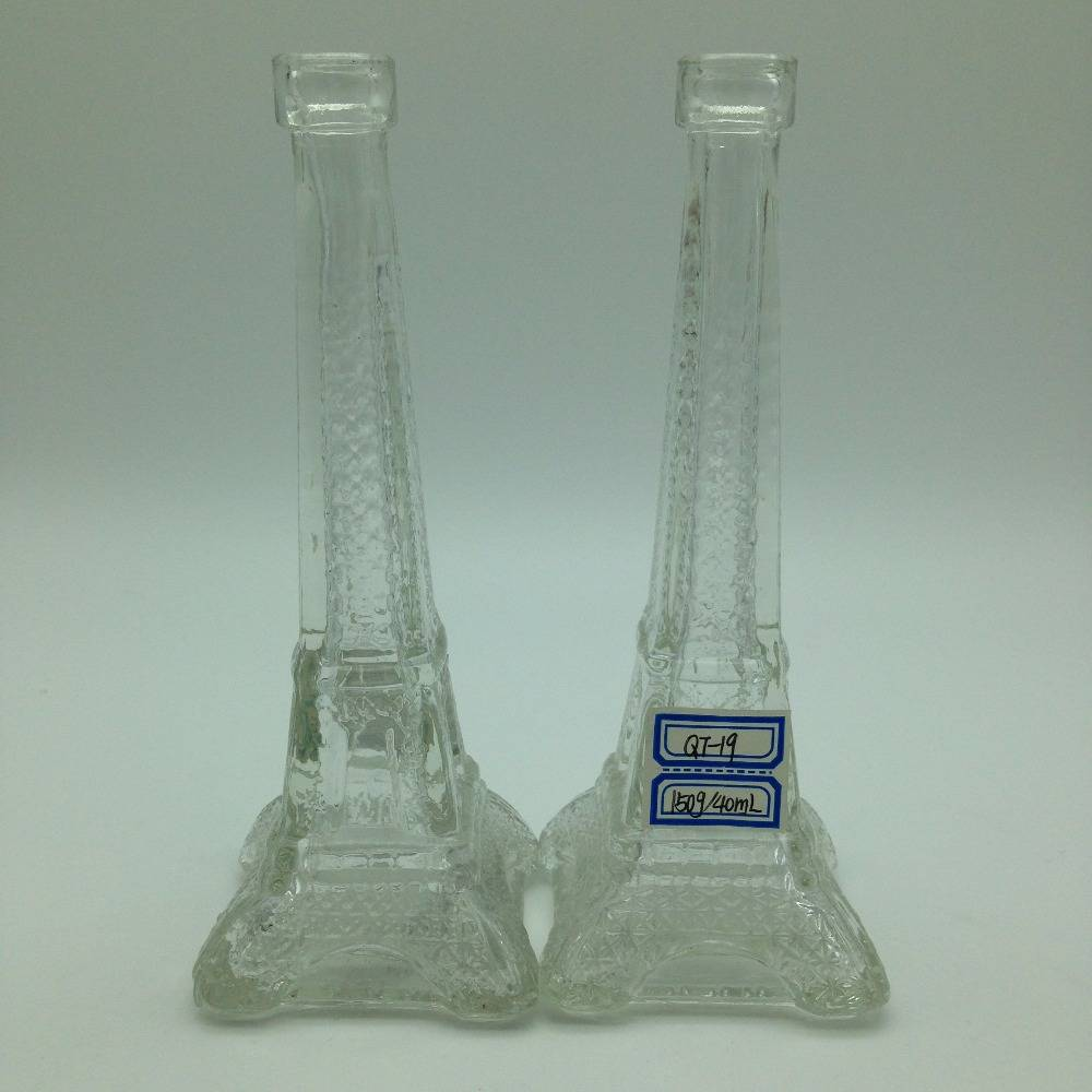 150g/40ml Eiffel tower shaped glass bottle for beer, candy, whisky and storage