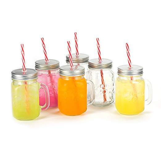 16oz Embossed Logo Shot Jars Glass Mason Jar Mugs with Handle