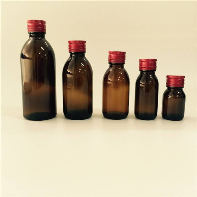 wholesale 30ml 50ml 100ml 125ml 150ml cylinder medicine amber syrup glass bottle with metal cap