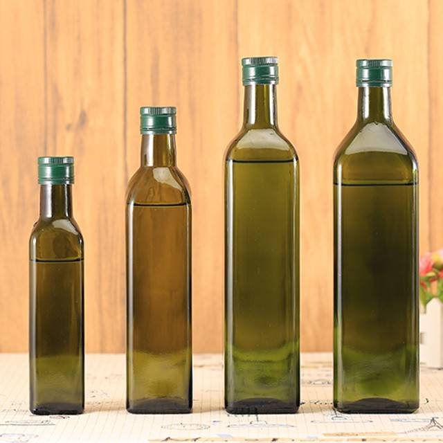 250ml 500ml 750 ml 1000ml amber square empty glass olive olive bottles with lid