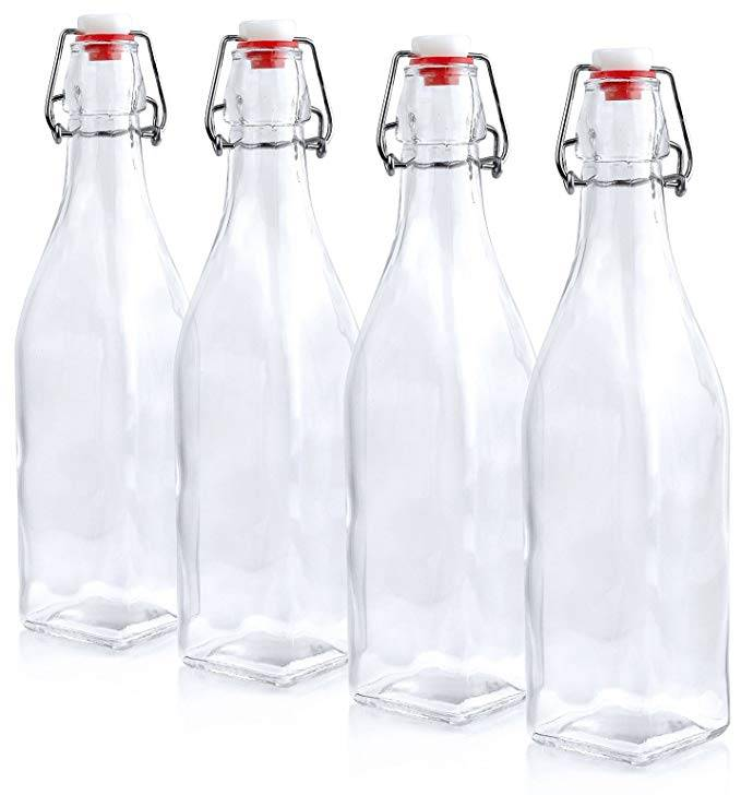 500ML 16oz Square Swing Top Easy Cap Glass Beer Bottles
