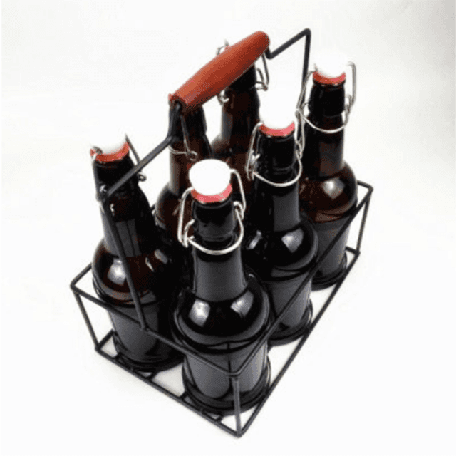 Glass Beer Bottle with Metal Basket
