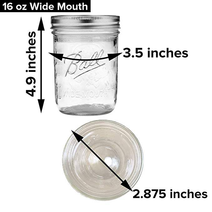 Half Quart Ball Wide Mouth Glass Mason Jar