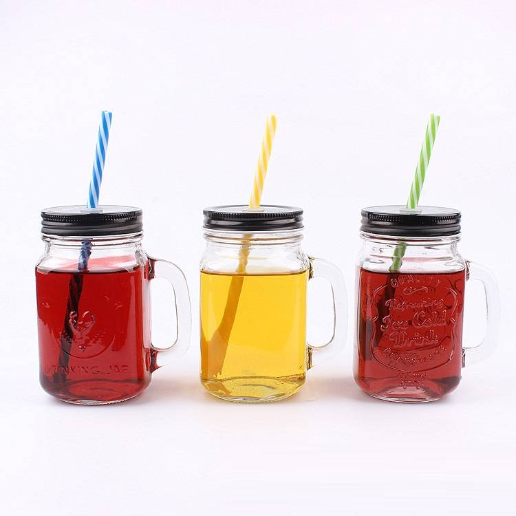 empty 16oz 500ml glass drinking mason jars with handle and straw