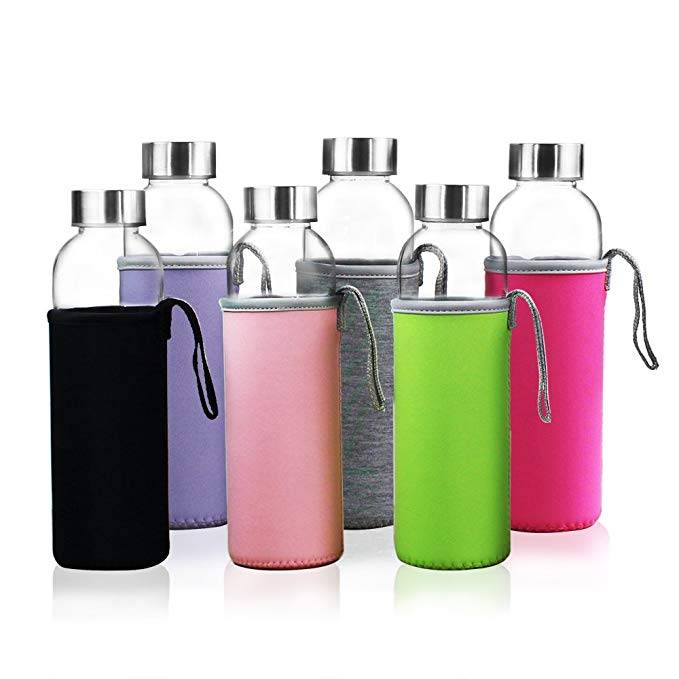 18oz Glass Water Bottles For Beverage and Juice