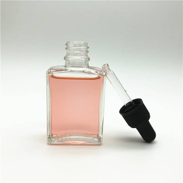 Clear 30ml 1oz square flat shape essential electronic cigarette oil glass bottle with dropper