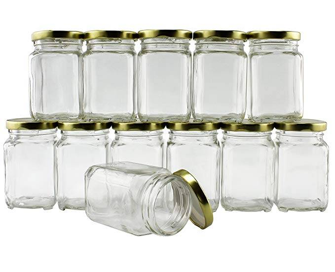 6 ounce screw cap square glass food storage jar