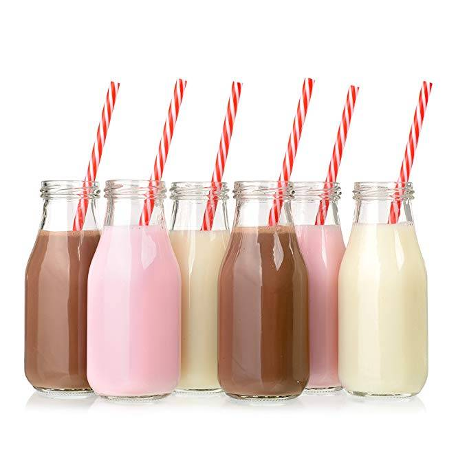 11oz Juice Bottles Glass Milk Bottles with Lids