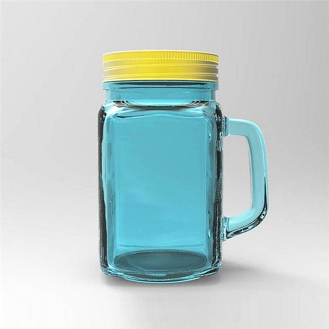 wholesale 10oz 300ml drinking glass mason jar with handle and tin lid