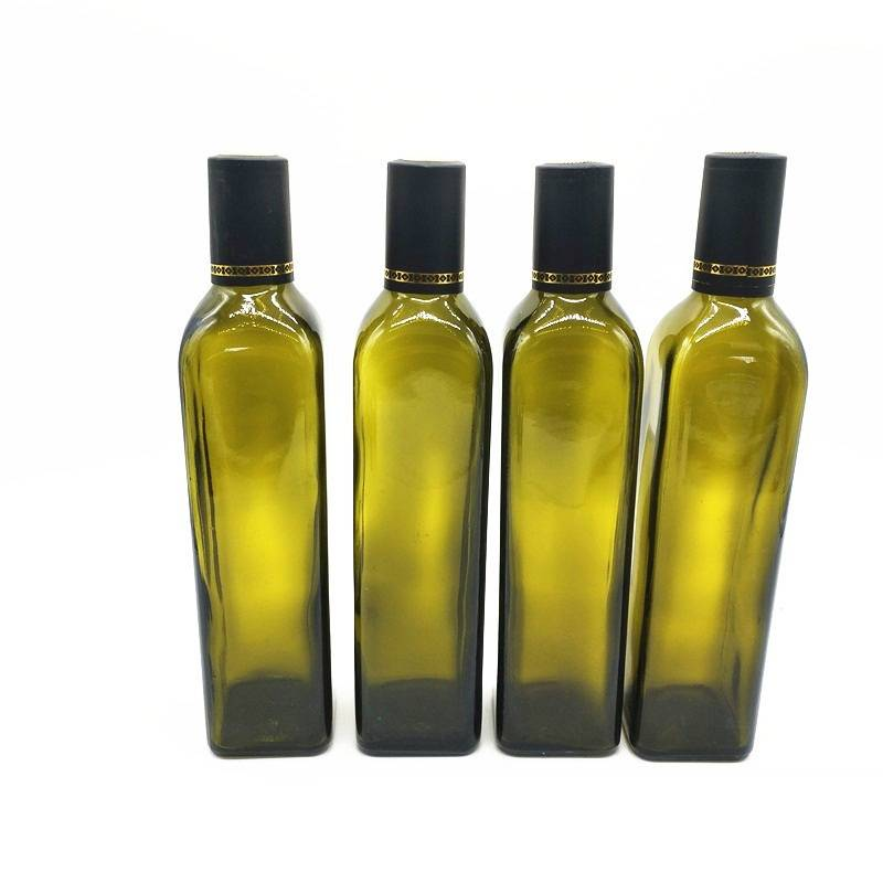 1000ml 1L Square Dark Green Marasca Glass Olive Oil Bottles