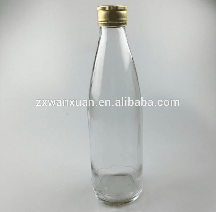 330ml glass drink bottle, beverage glass soda bottle with aluminum screw cap