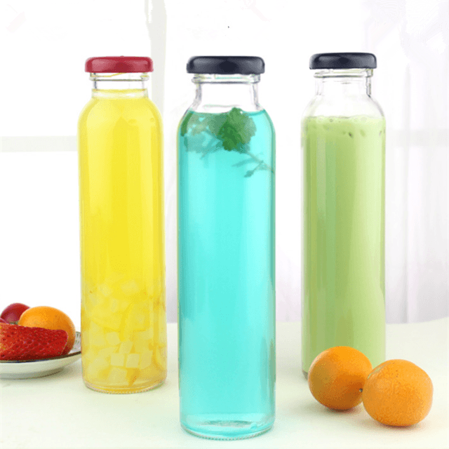 300ml 350ml clear empty tall round drinking packaging glass bottles with mental screw cap for juice beverage tea milk