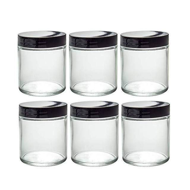 Clear 8 Oz Straight Sided Glass Jar With Black Lid