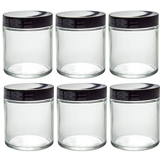 8oz With Black Plastic Lid Glass Straight Sided Jar