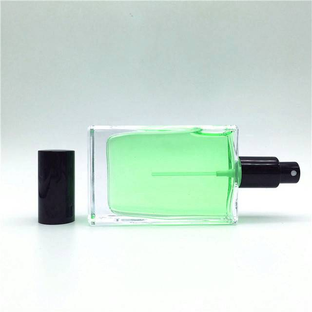 Popular and fine workmanship square 60ml glass perfume bottle with black lid