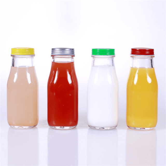 Round Cold Coffee Food Beverage Glass 300ml Kombucha Bottle For Juice With Straw Featured Image