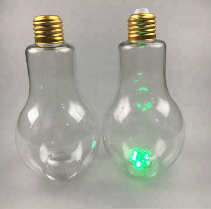 Christmas gift Empty led light bulb glass bottle for for beverage/bubble tea