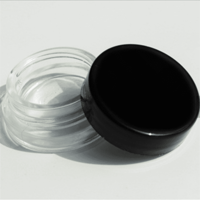 9ml Child Resistant Glass Cosmetic Jar Clear eye cream container glass bottle With Black Cap