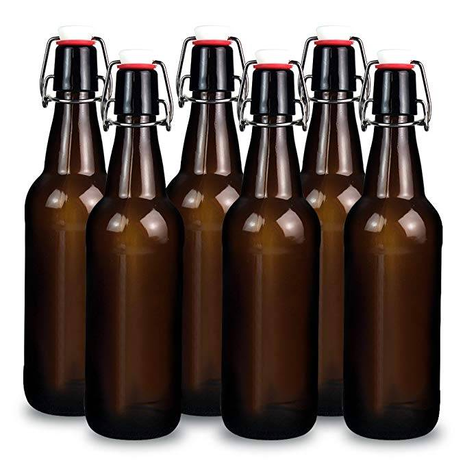 16oz Amber Glass Beer Bottles for Home Brewing with Flip Caps