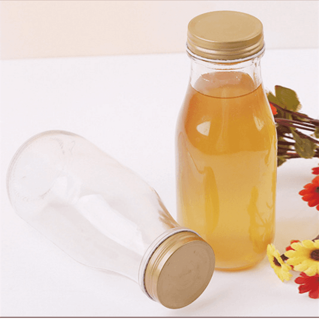 Round Cold Coffee Food Beverage Glass 300ml Kombucha Bottle For Juice With Straw