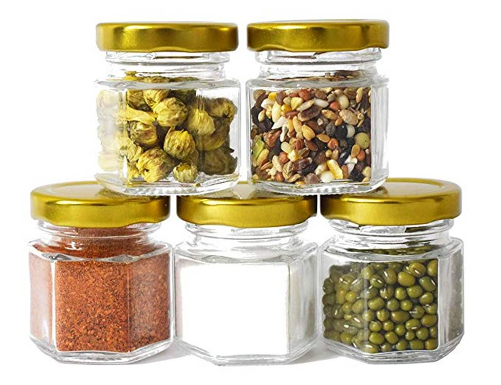 1.5oz with gold lid for gifts wedding mini candy glass jar