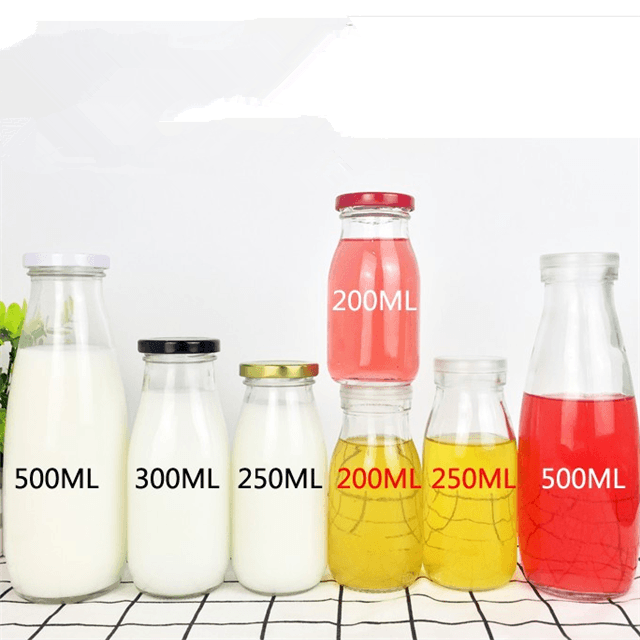 Glass Milk Bottle Juice Bottle Beverage Bottle 200/250/300/500/1000ML 16oz
