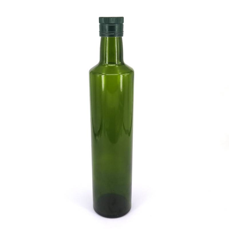 250ml 500ml Round Green Fancy Cooking Oil Use Olive Oil Glass Bottle With Metal Lid