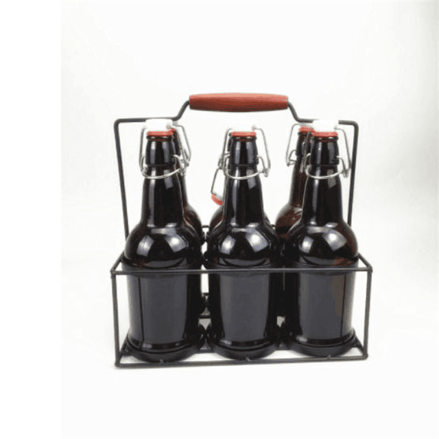 Glass Beer Bottle with Metal Basket Featured Image