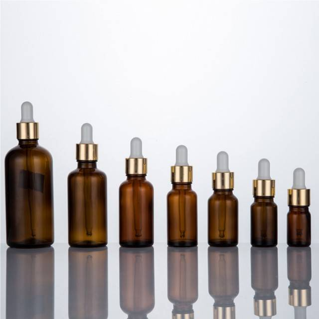 1ml -100 ml  series of amber glass essential oil bottle with dropper lid packing