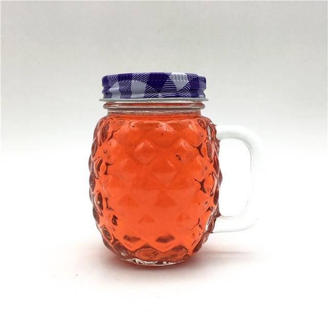 Hot sale Factory Mason Jar Beer Mugs – carved custom pineapple cup 4oz jam bottle glass mason jar with handle – Wan Xuan