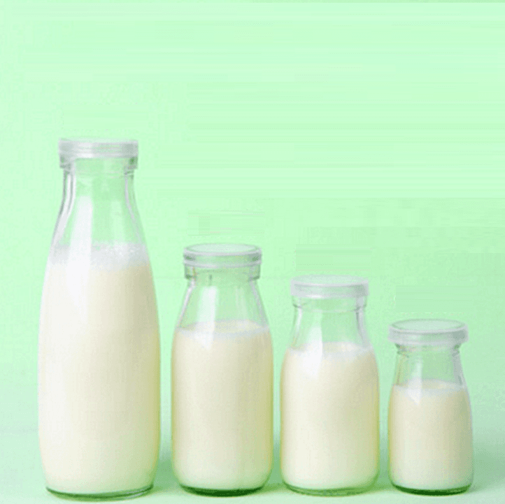 100ml 200ml 250ml 500ml glass milk bottle with plastic lid