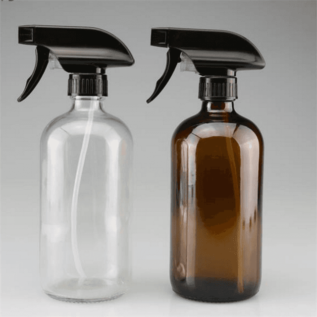 8oz 16oz 250ml 500ml  Empty cosmetic packaging round amber boston glass bottle with pump caps