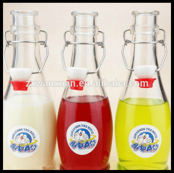 custom made glass juice milk bottle 375ml glass water bottle with top stopper