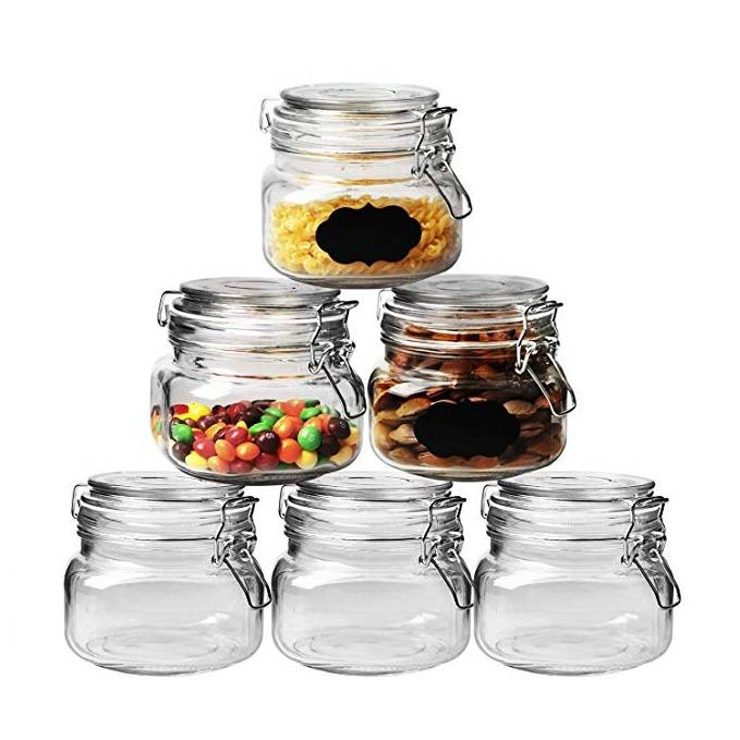 17oz 500ML Wide Mouth Airtight Glass Preserving Jars with Leak Proof Rubber Gasket and Clip Top Lids