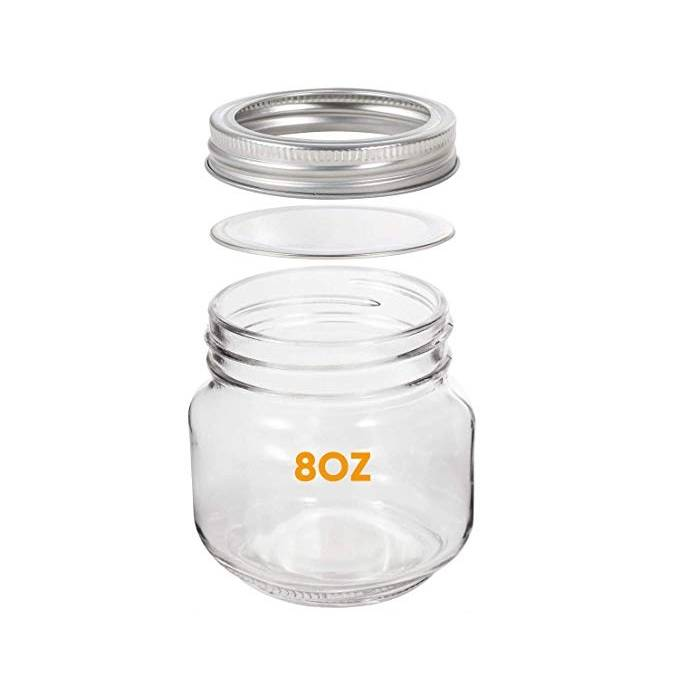 Silver lids 8OZ Mason Jar for Jam Shower Favors Baby Foods