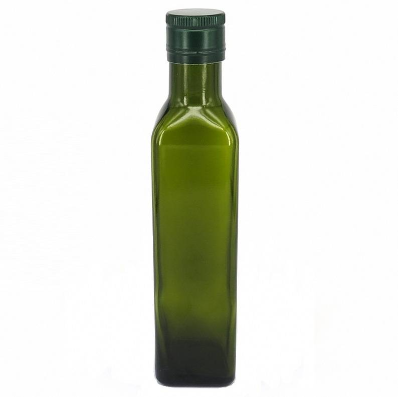Lead-free 250ml Dark Green Glass Olive Oil Bottle For Kitchen Cooking